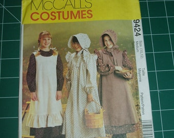 McCalls 9424 Costumes pattern - Prairie Dress With Bonnet - size medium Girls 10-12