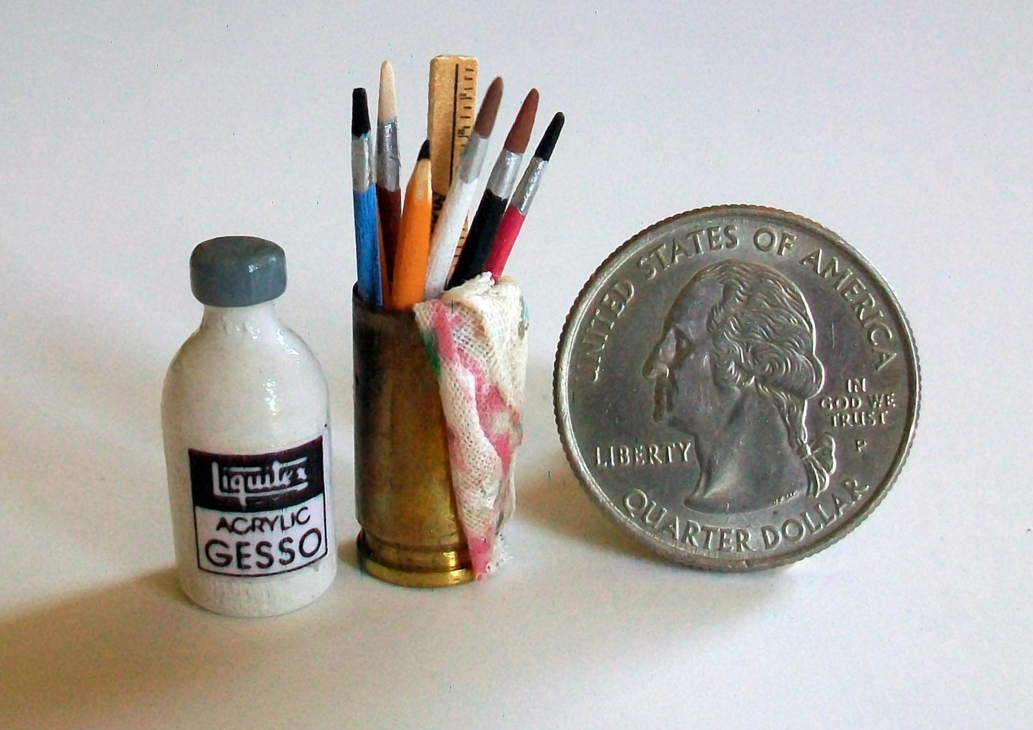 Mini Gesso Jar & Can of Brushes 1:12