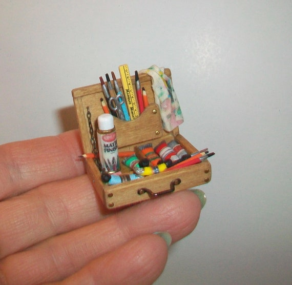 Dollhouse Painting Supplies Miniature Studio Paintbox Art Studio Pain Box 1:12