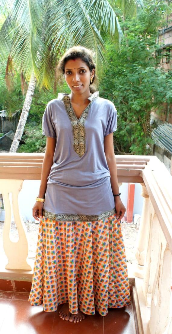 jupe longue pastel boh me hippie ethnique commerce quitable etsy. Black Bedroom Furniture Sets. Home Design Ideas
