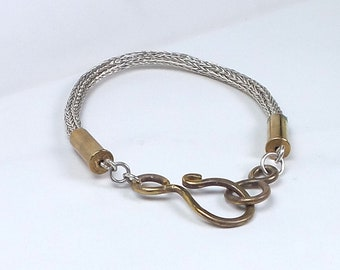 Sterling Silver viking braid bracelet with brass accents