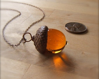 Glass Acorn Necklace in Transparent Topaz by Bullseyebeads
