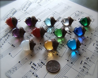 Glass Acorn Necklace - Choose your own Birthstone - by Bullseyebeads