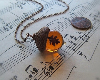 Glass Acorn Necklace - Topaz with Encased Copper Oak Leaf - by Bullseyebeads