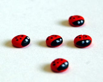 Miniature Ladybirds (Pack of 5) | Fairy Garden | Dolls house | Card Making | Scrap Booking | Embellishment