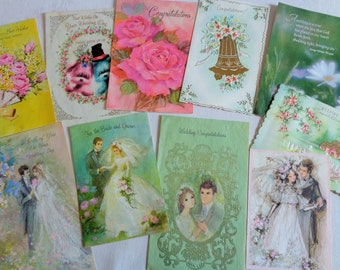 Sixties Seventies Brides and Grooms in Retro Grouping Vintage Wedding Lot No 139 Total of 10