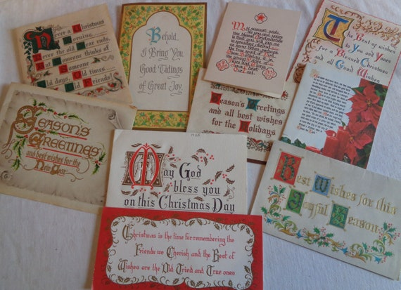 Christmas Calligraphy.Christmas Calligraphy And Other Wordy Pretty Cards In Vintage Christmas Card Lot No 1386 Total Of 10