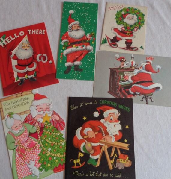 Grandma /& Grandad Cute Santa Carrying Christmas Sack Xmas Card