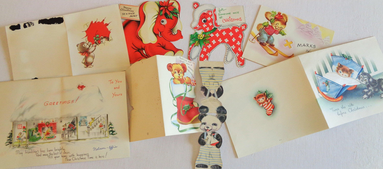 Sweet 1940s Era Animal Merry Christmas Greetings In Vintage