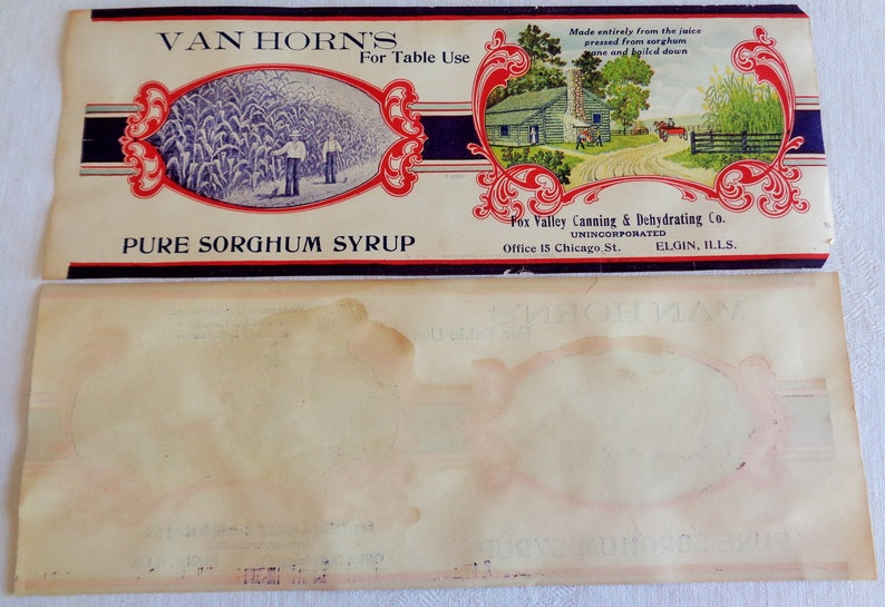 Vintage Van Horns Pure Sorghum Syrup Paper Label Fox Valley Canning Elgin IL Lot of 2