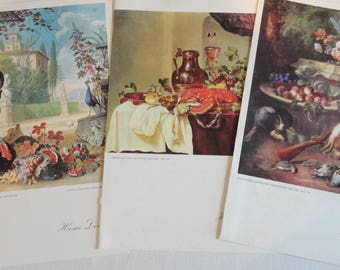 Home Lines SS DORIC Ship Menus featuring Old Masters Still Life Paintings Lot of 3