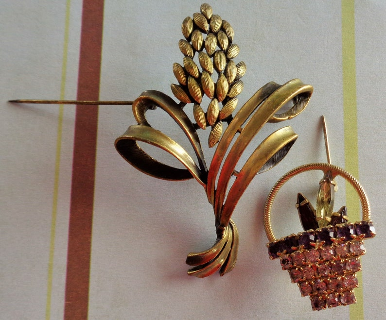 Mid Century Beauties Brooches and Pins Sheaf of Wheat and Jeweled Basket Both with Goldtone Backing