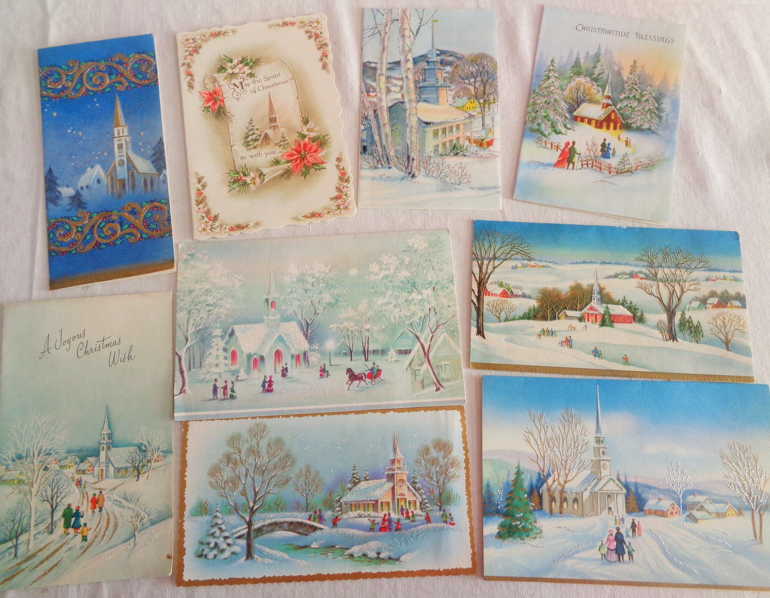 Snow Aglow In Victorian And Church Scenes In Vintage Christmas