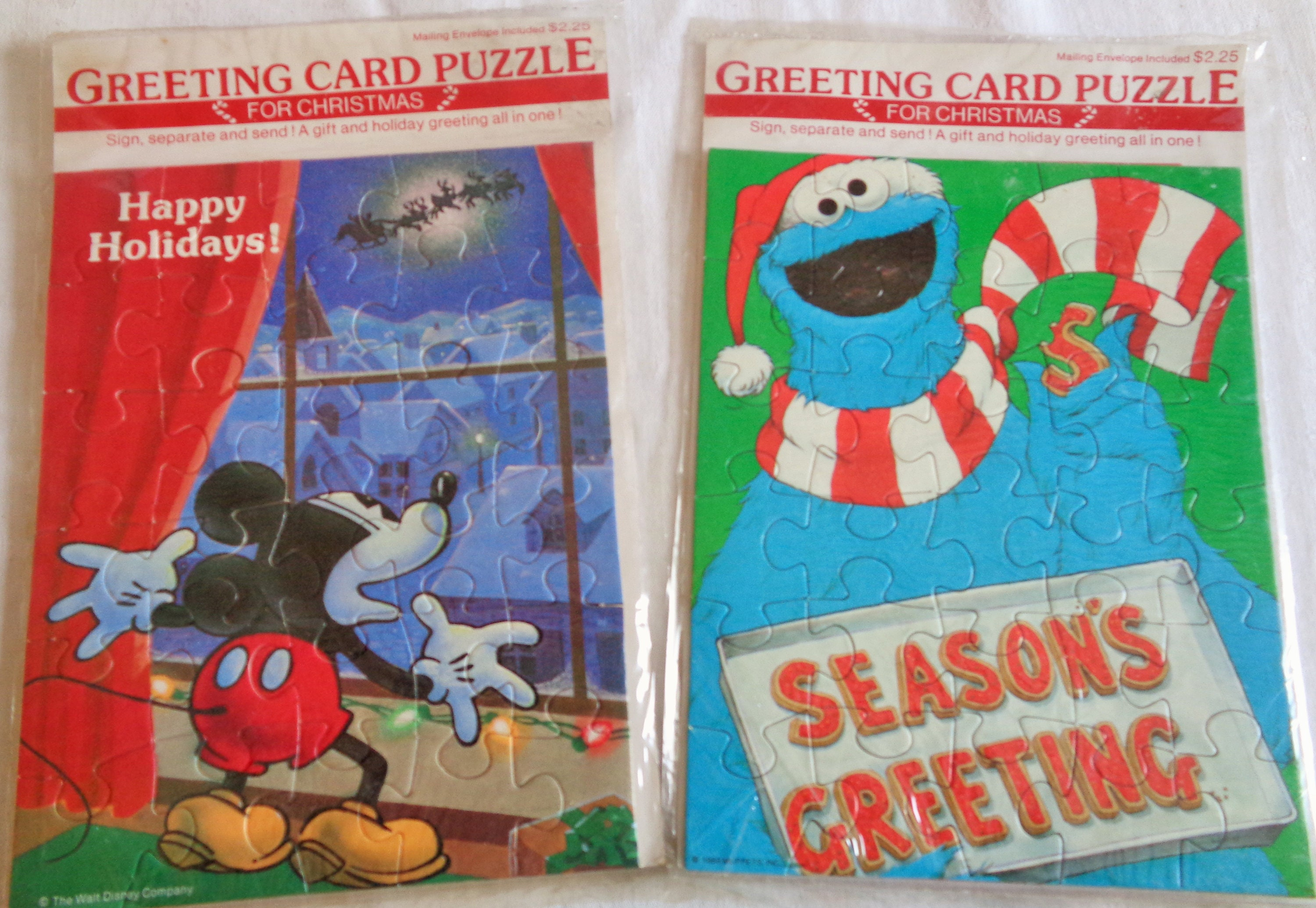 Mickey And Cookie Monster Send Christmas Greetings In A Puzzle Etsy