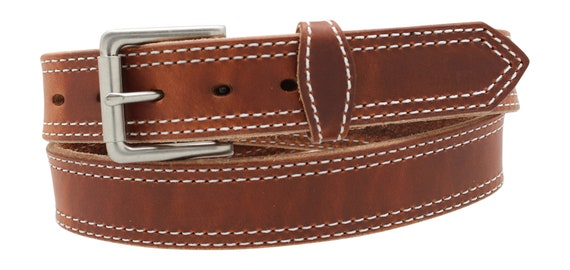 "1 12"" Full Grain Leather Work Belt up to 70"" waist, Brown, Dark Brown, Black"
