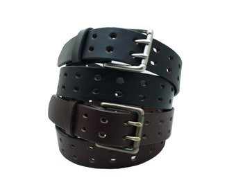 Double Hole Leather Belt with Double Prong Buckle