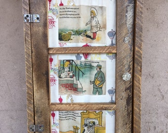 Cabinet from Reclaimed Adobe House Wood with Vintage Child's Muslin Cloth Book Pages in Door by Stephanie Barnes-Barneche Design