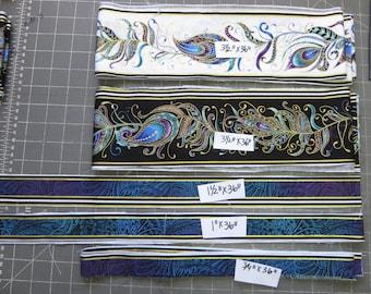 Benartex Fabric Strips - Peacock Flourish - Pick your size