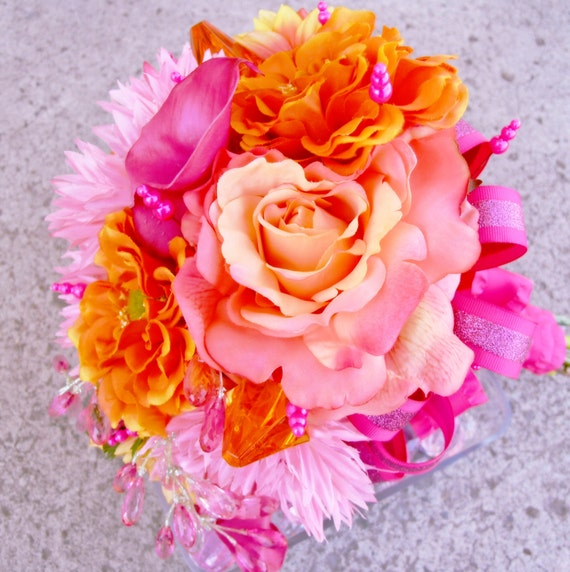 Coral And Pink Wedding Flowers: Items Similar To Coral Pink Bridal Bouquet, Orange Wedding