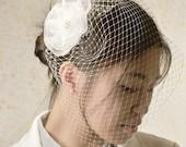 Bridal birdcage veil with flower white bridal veil short veil bridal accessories white birdcage veil bride half veil small veil bird cage