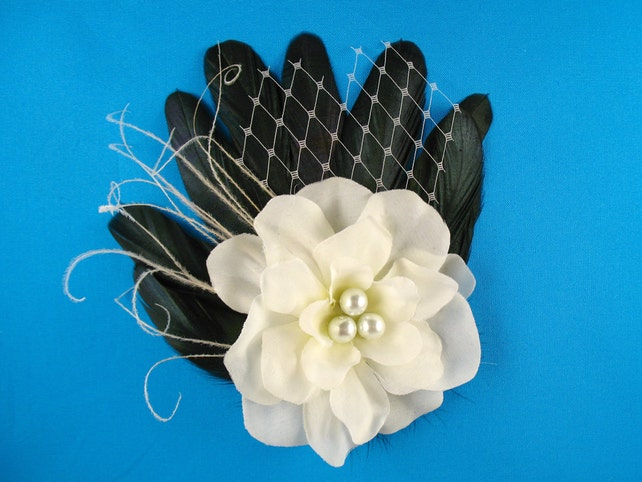 Black And White Wedding Hair Clip Bridal Fascinator Fancy Party Hair