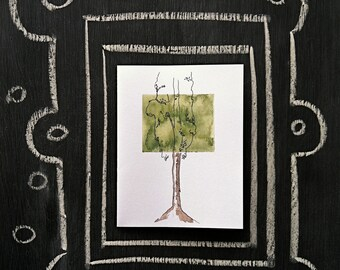 Modern Birch Tree--Watercolor Notecards (white cardstock, smaller)