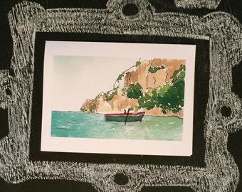 Italian Row Boat--Watercolor Notecards (A6)
