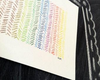 "Chevron Rainbow -- 4x6"" Original Mini Drawing"