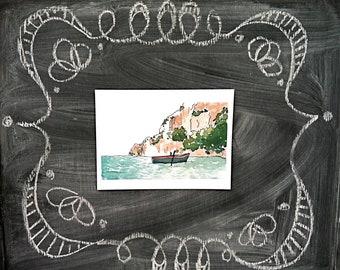 """Italian Row Boat Watercolor Print--6x8"""""""