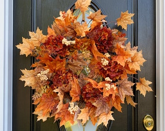 Fall Leaf Wreath with Hydrangeas and berries, Thanksgiving Wreaths for Front Door, Fall Wreath Outdoor, Elegant Fall