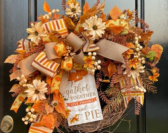 Large Fall Wreath for Front Door, Autumn Welcome Wreath, Thanksgiving Wreath, Elegant Fall Wreath, Neutral Fall Wreath with Mums,