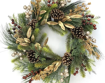 Glam Christmas Wreath in Copper and Gold for Front Door with Pine Cones and Berries, Gold Holiday Wreath
