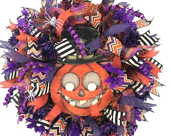 Deco Meh Halloween Wreath with Jack-o-Lantern Sign for a Whimsical Trick or Treat Door