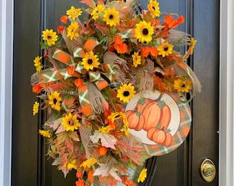 Fall Pumpkin Sunflower Wreath for Front Door, Autumn Welcome Wreath, Thanksgiving Wreath, Elegant Wreaths for Door