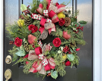 Elegant Traditional Christmas Wreath For Door with Florals, Pine Cones, Berries for Natural Look