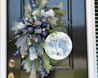 Elegant Nativity Blue Christmas Wreath for Front Door with O Holy Night Sign
