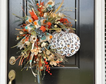 Leopard Pumpkin Fall Wreath for Home, Autumn Door Decor, Natural Fall Wreath with Faux Flowers