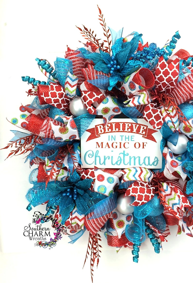 Blue Christmas Wreath Believe Christmas Decor Red Turquoise Whimsical Holiday Wreaths