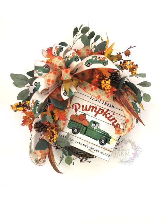 Fall Pumpkin Wreath Vintage Truck Front Door, Leaf Wreath, Autumn Home Decor,  Red Truck Décor, Farmhouse Door, Rustic Fall Wreath