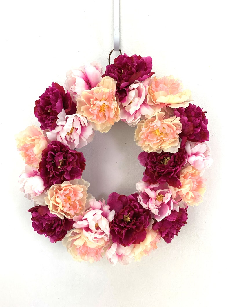 Pink Peony Wreath Gift for Her Dorm Room Wreaths Baby Girl image 0
