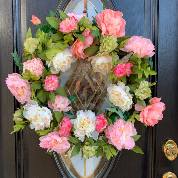 Farmhouse Spring Wreath For Front Door Garden Peony Wreath Shade Of Pink Spring Door Wreath Wedding Wreath By Southern Charm Wreaths Catch My Party