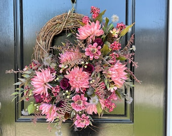 Natural Looking Fall Floral Wreath on Grapevine, Front Door Wreath, Mauve Mum Wreath, Shabby Chic Wreath, Pink Fall Wreath, Country Wreath