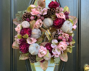 Blush Fall Wreaths, Fall Pine Cone Wreath, Peony Fall Wreath, Thanksgiving Wreaths for Front Door, Fall Wreath Outdoor, Elegant Fall