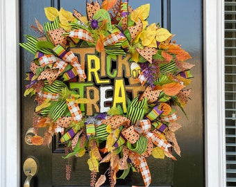 Deco Mesh Halloween Wreaths for Front Door with Large Trick or Treat Sign, Whimsical Halloween Porch Wreath,
