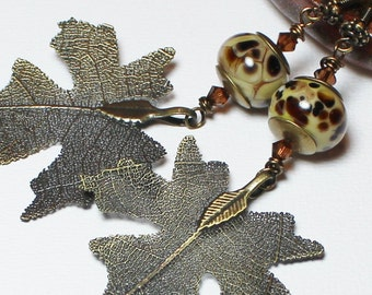 Maple Pistachio... Handmade Jewelry Earrings Beaded Autumn Leaves Leaf Lampwork Crystal Antique Brass Olive Sage Green Brown Tan Lightweight