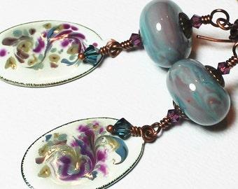 Handmade Earrings, Beaded Earrings, Lampwork Earrings, Enamel, Crystal, Antique Copper, Blue, Purple, Green, Boho, Artisan, Dangle, Long