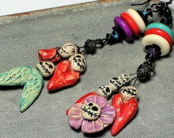 Handmade, Jewelry, Earrings, Beaded, Ceramic, Nightmare Before Christmas, Jack Skellington, Red, Turquoise, Purple, Black, Asymmetrical