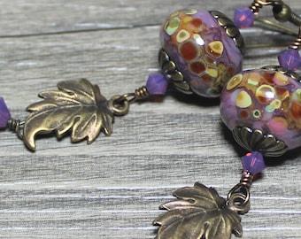 Earrings, Jewelry, Handmade, Beaded, Lampwork, Glass, Crystal, Metal, Antique Brass, Purple, Lavender, Pink, Caramel, Leaf, Leaves, Artisan