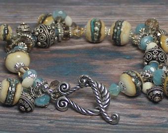 Bracelet, Jewelry, Handmade, Beaded, Lampwork, Crystal, Metal, Silver, Ivory, Turquoise, Aqua, Blue, Green, Cha Cha, Artisan, Asymmetrical