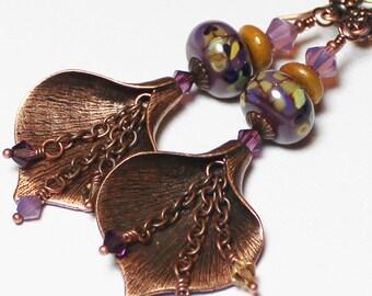 Calla Lily... Handmade Jewelry Earrings Beaded Lampwork Glass Crystal Flower Purple Lavender Plum Amber Caramel Antique Copper Long Boho